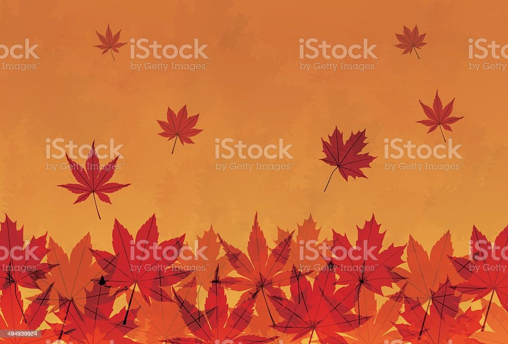 Autumn foliage in orange gradient background vector art illustration