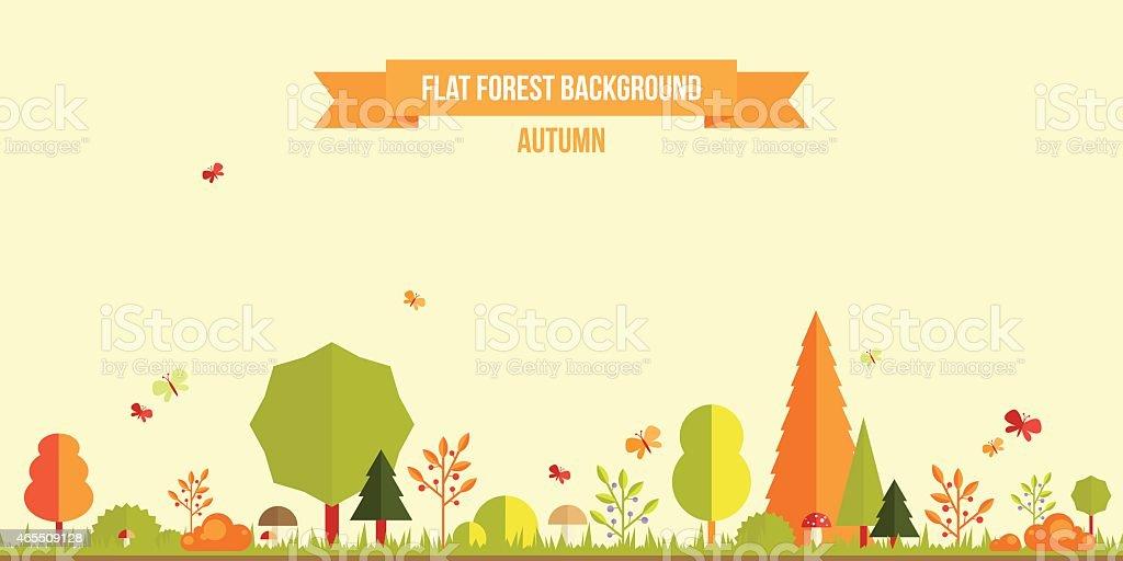 Autumn forest flat background. vector art illustration