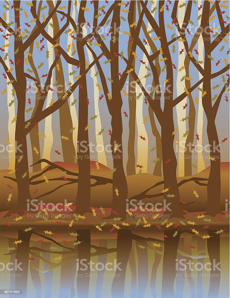 Autumn Forest Reflection royalty-free stock vector art