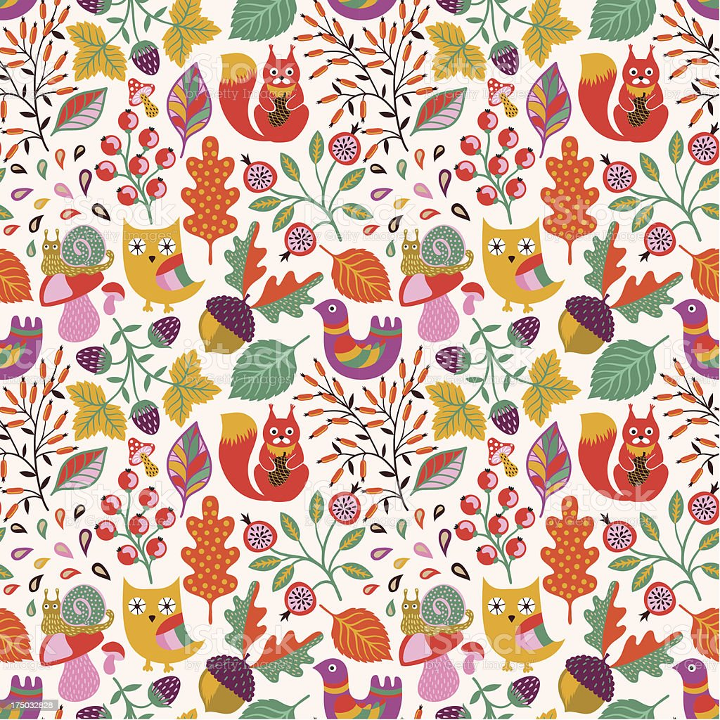 Autumn forest seamless pattern royalty-free stock vector art