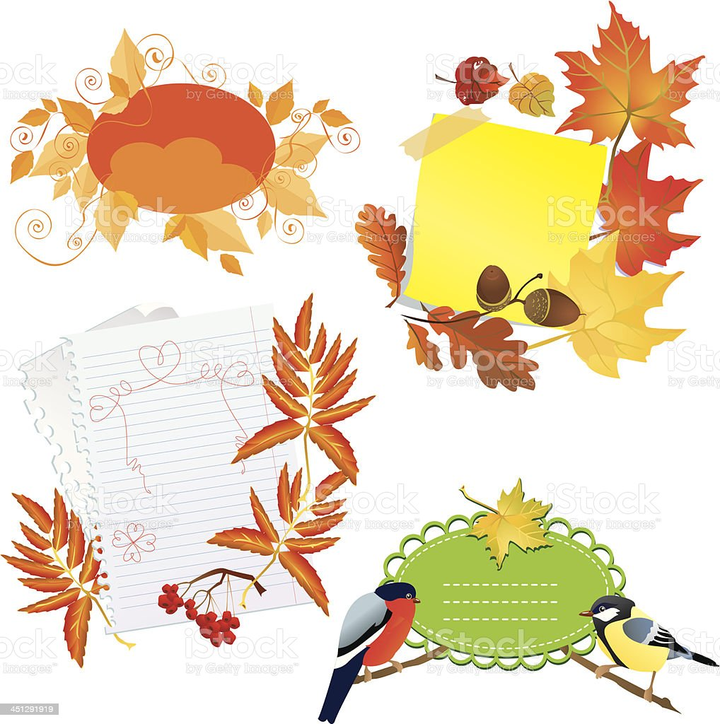 Autumn frames with Leafs, pieces of paper and birds royalty-free stock vector art
