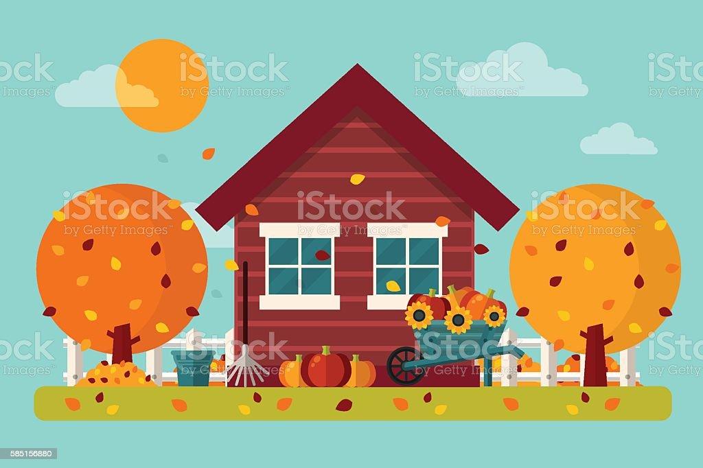 Autumn Garden vector art illustration