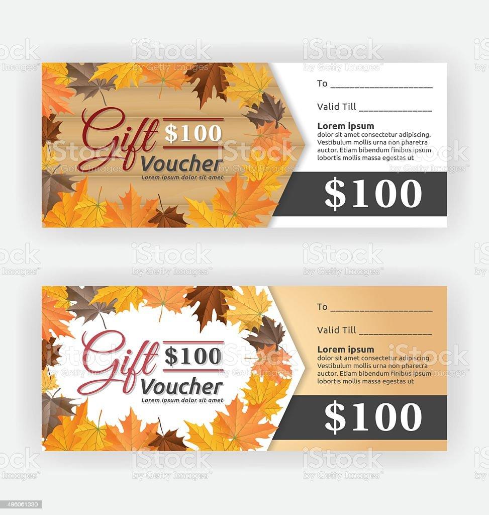 Autumn Gift Voucher Certificate Template stock vector art – Gift Voucher Certificate Template