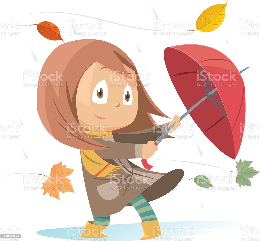 Autumn girl vector art illustration