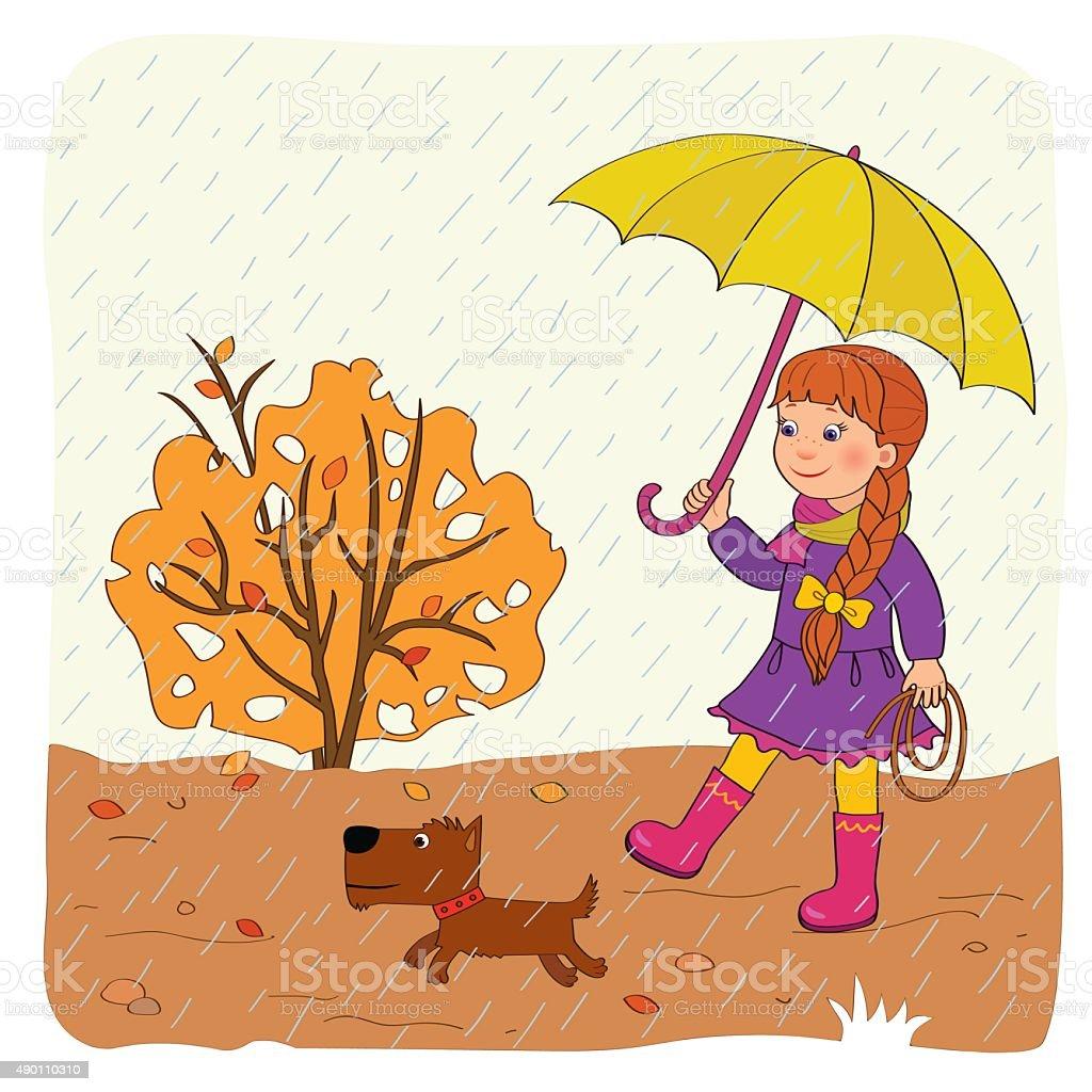 Autumn. Girl with umbrella vector art illustration