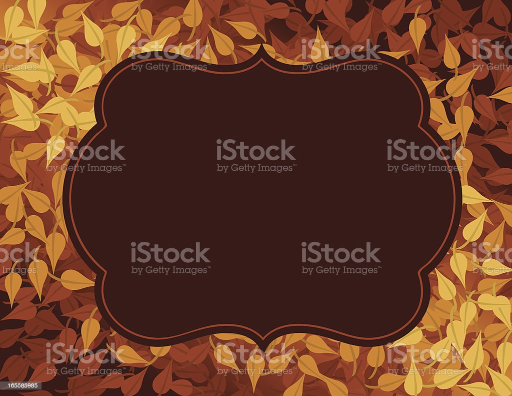Autumn golden leaves background with text bubble in center royalty-free stock vector art