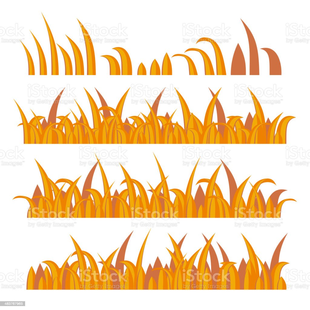 Autumn Grass Constructor on White. Vector royalty-free stock vector art
