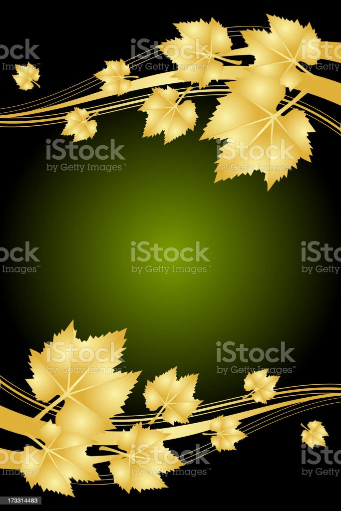 autumn green and gold frame royalty-free stock vector art