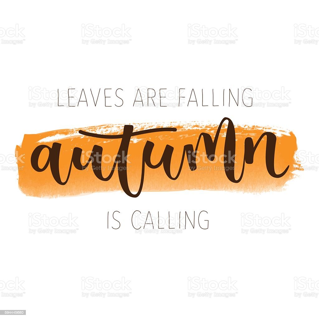 Autumn hand written greeting card vector art illustration