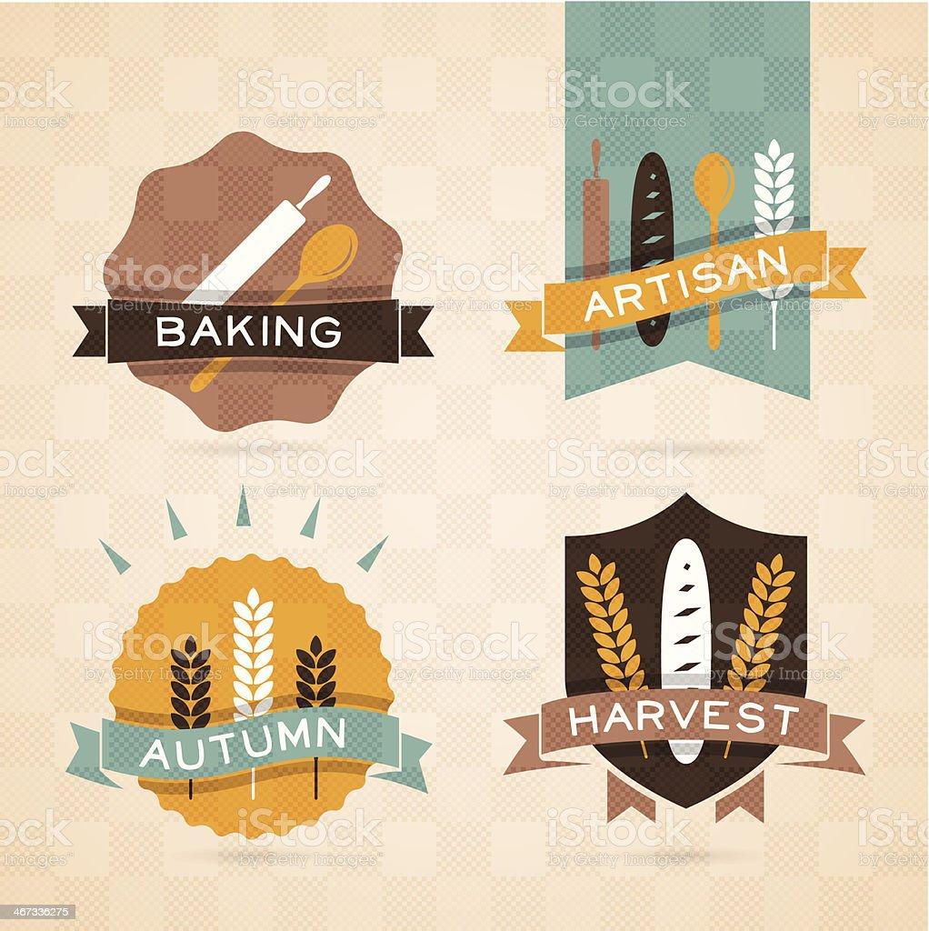 Autumn Harvest Badges vector art illustration