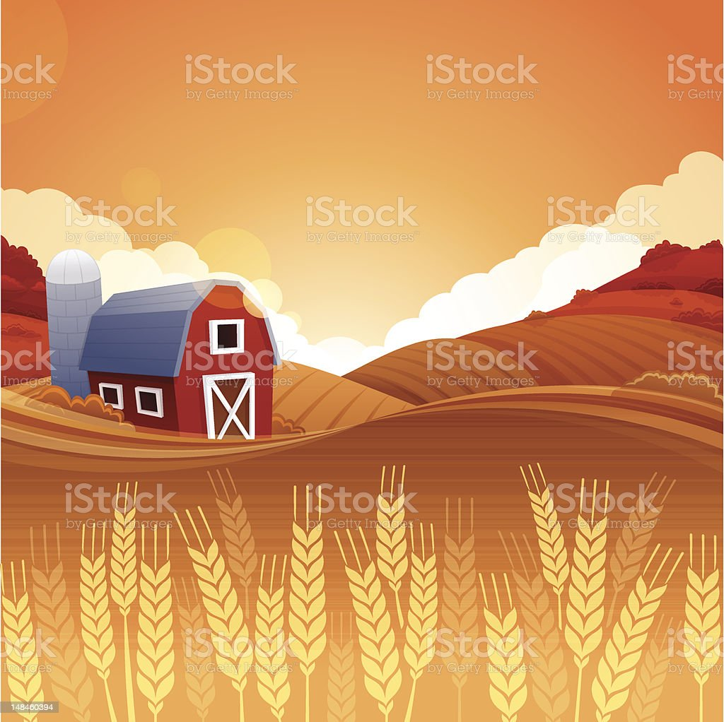 Autumn Harvest Farm vector art illustration
