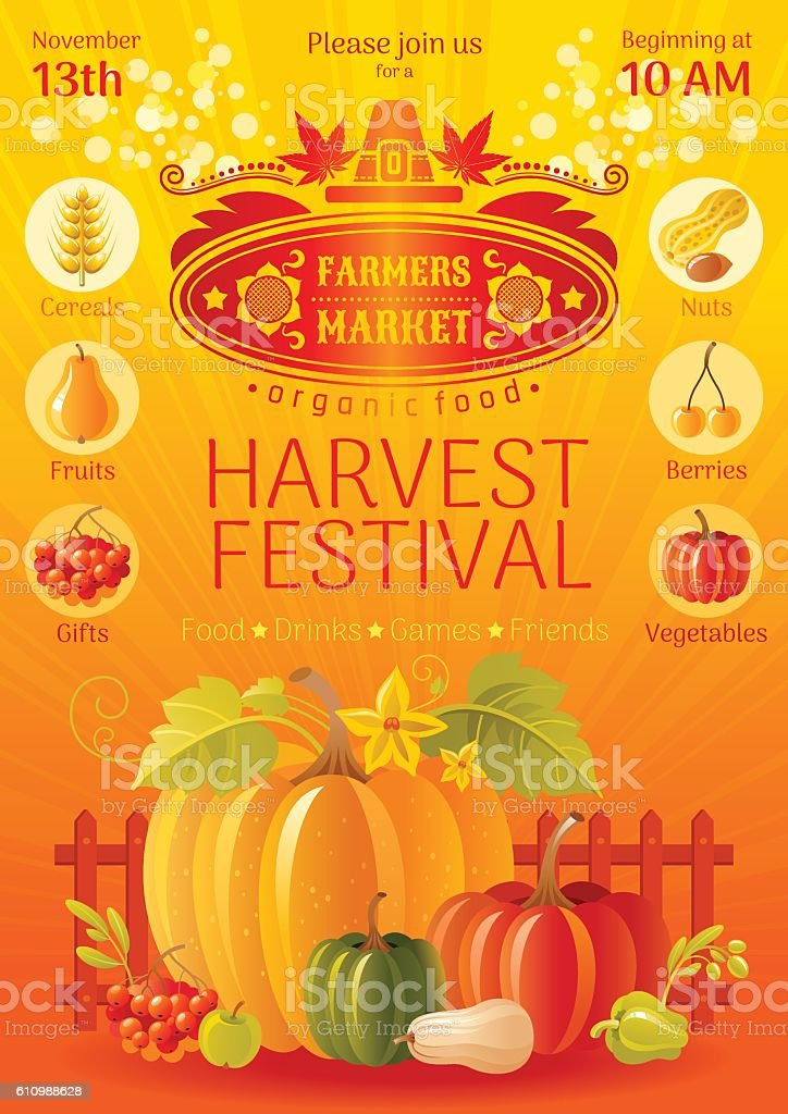 Autumn harvest festival poster. Fall party invitation design. Vector illustration. vector art illustration