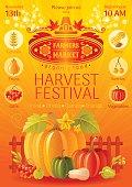 Autumn harvest festival poster. Fall party invitation design. Vector illustration.