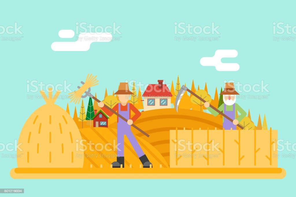 Autumn hay peasant harvestman harvest Icon on Village Hills Field vector art illustration