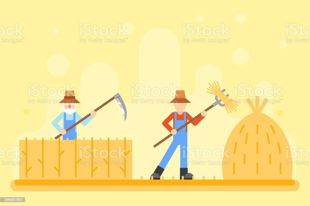 Autumn hay peasant harvestman harvest Icon Village Hills Field Landscape vector art illustration