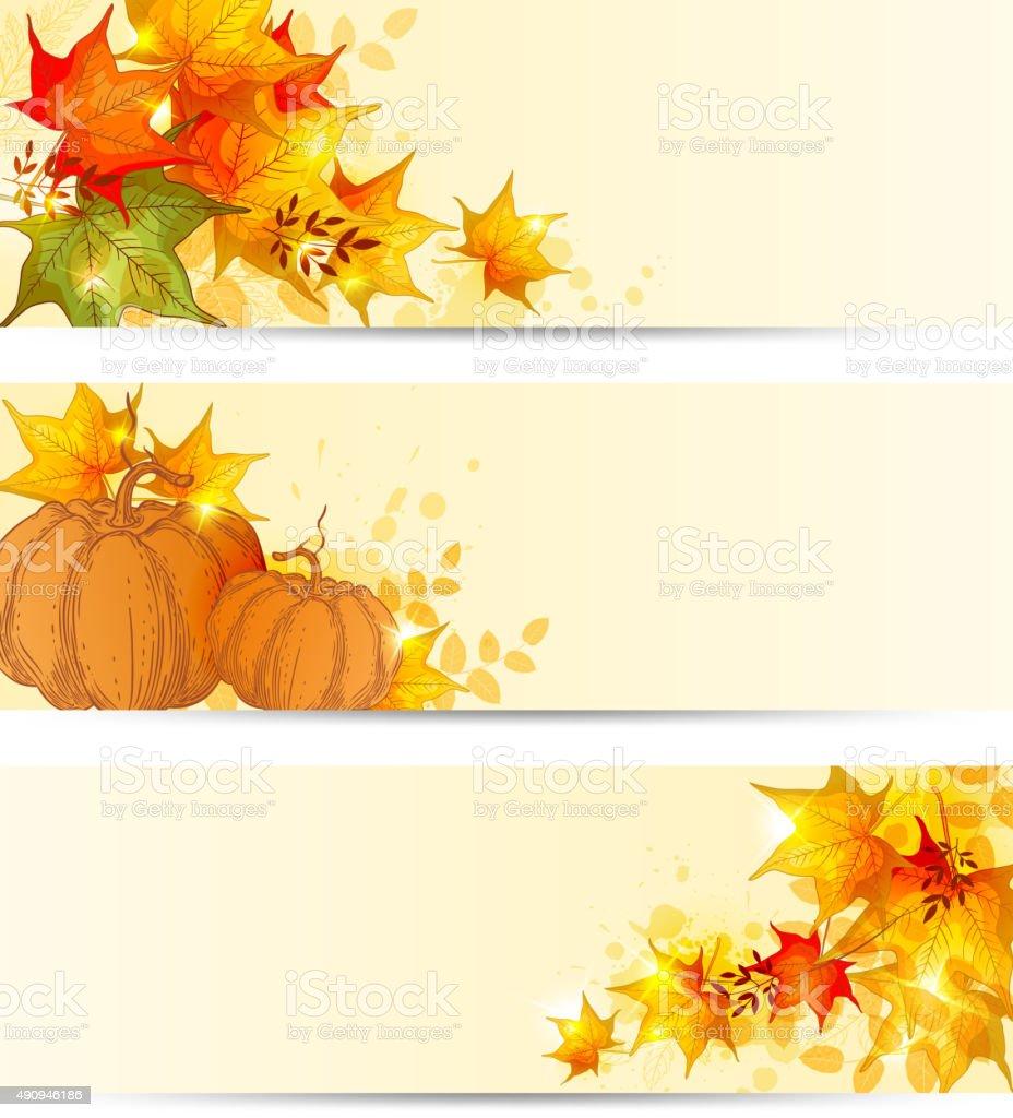 Autumn horizontal backgrounds vector art illustration