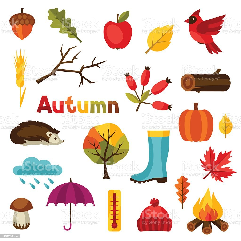 Autumn icon and objects set for design vector art illustration