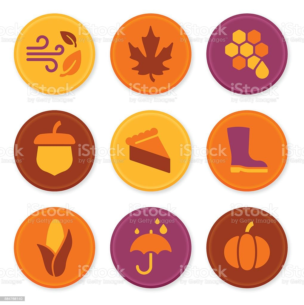 Autumn Icons and Symbols vector art illustration