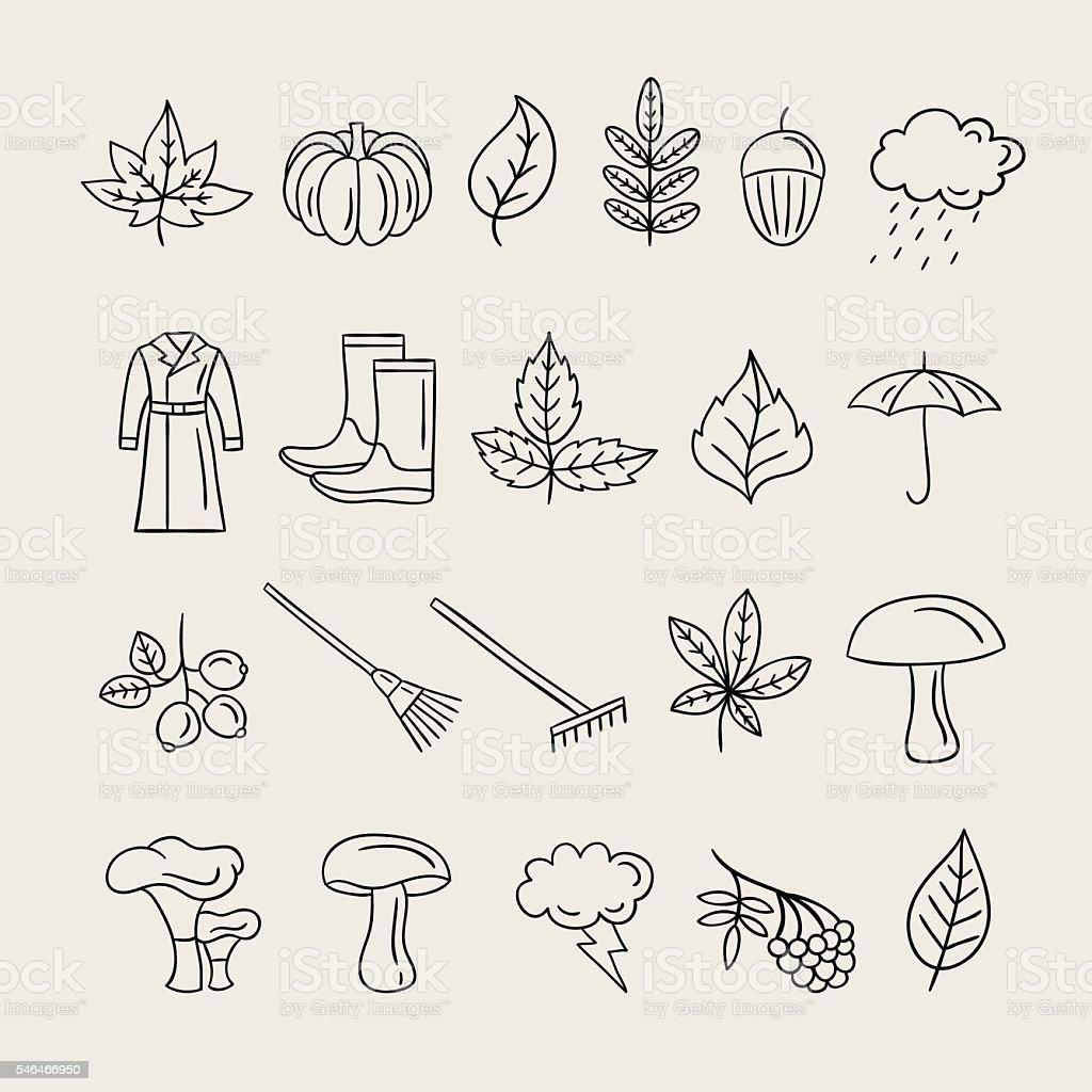Autumn icons hand drawn illustrations. Fall symbols, rain and leaves vector art illustration