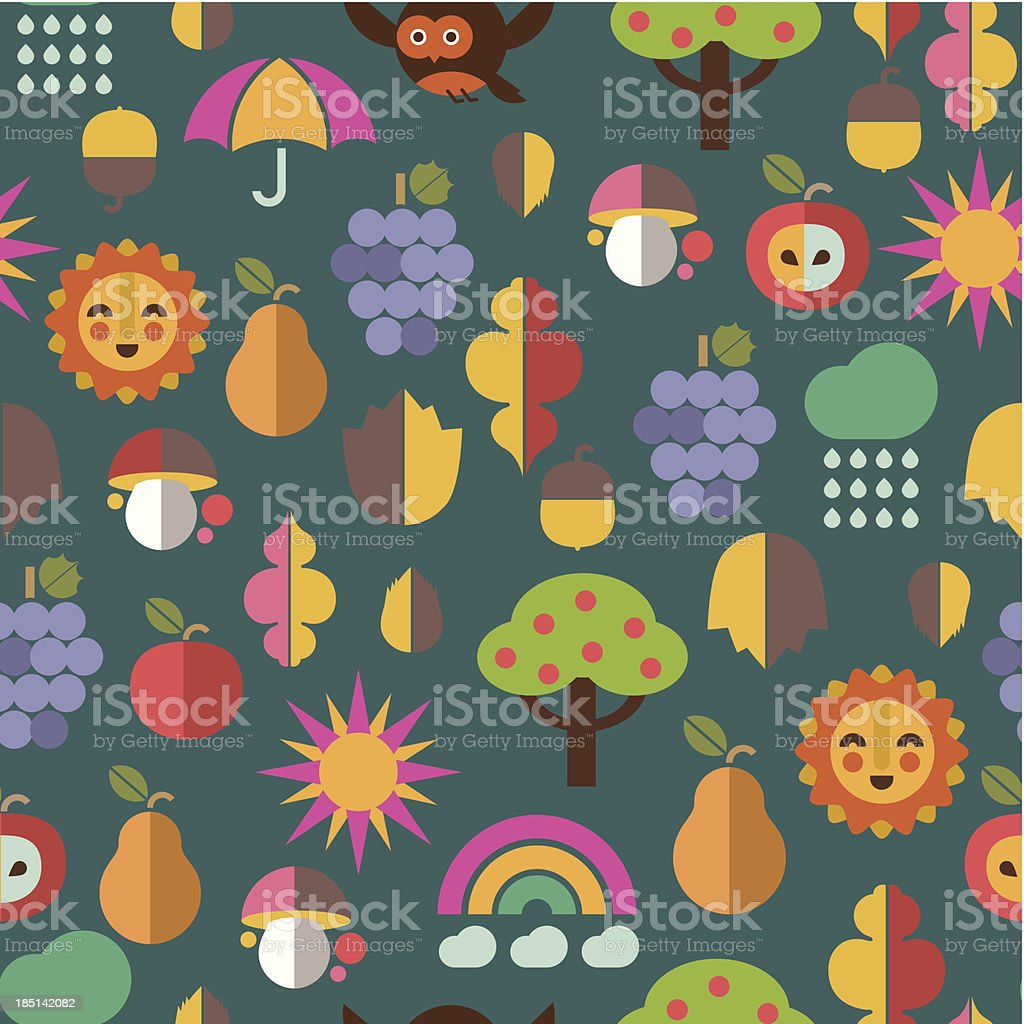 Autumn icons textile pattern royalty-free stock vector art