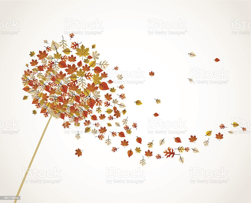 Autumn illustration, dandelion flower with falling leaves composition. vector art illustration