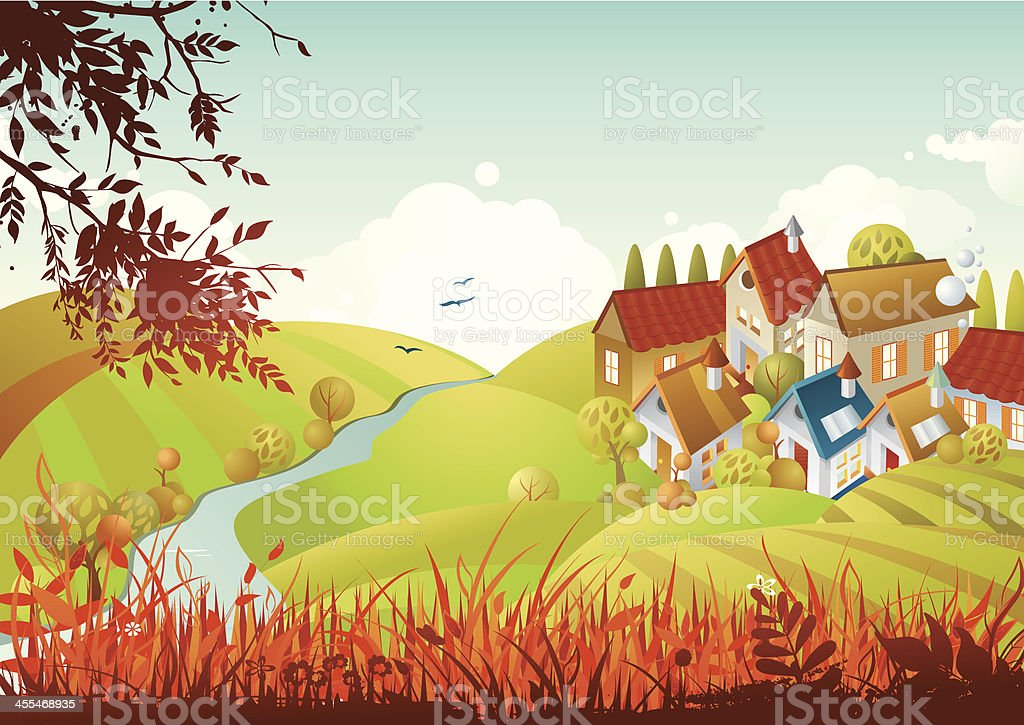 Autumn in a country royalty-free stock vector art