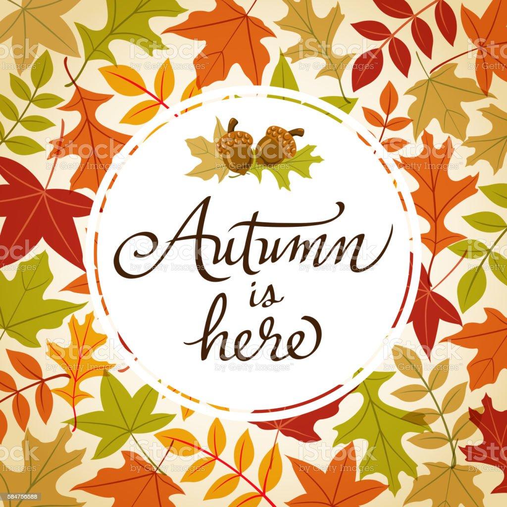 Autumn is Here Frame vector art illustration