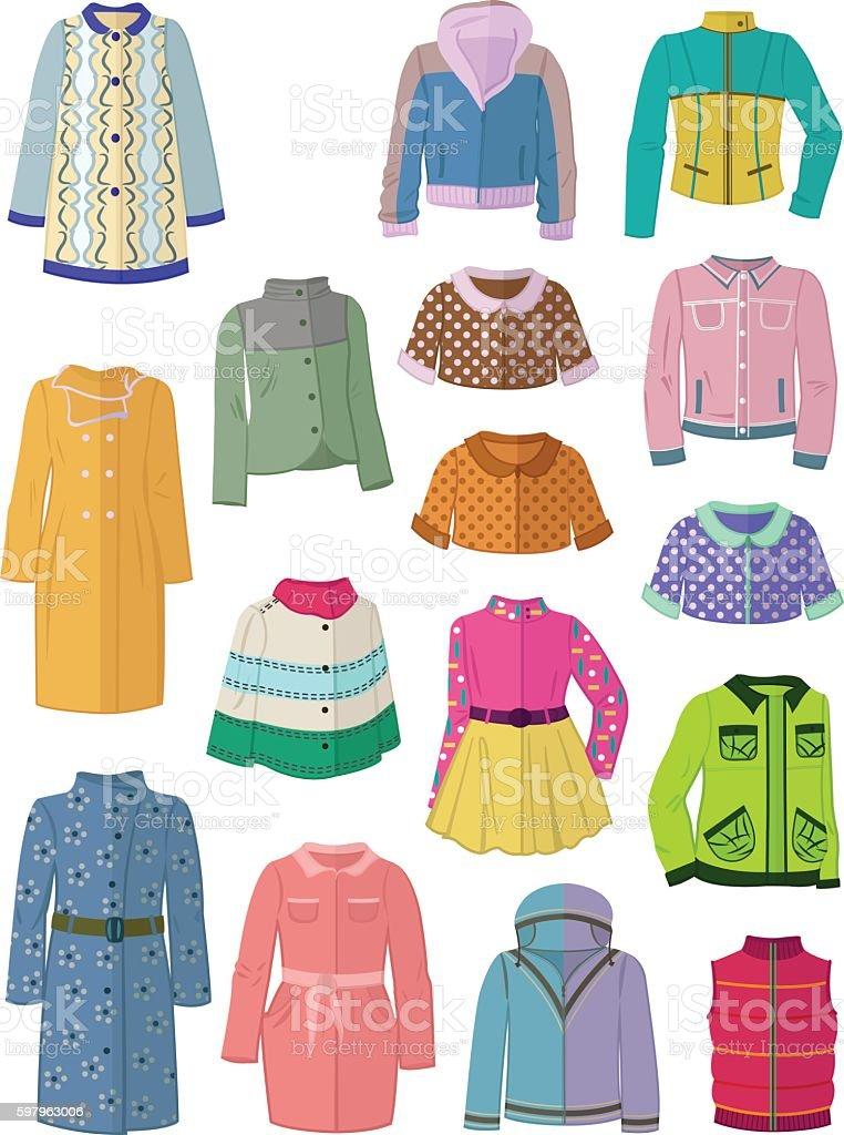 Autumn jackets and raincoats in flat design vector art illustration