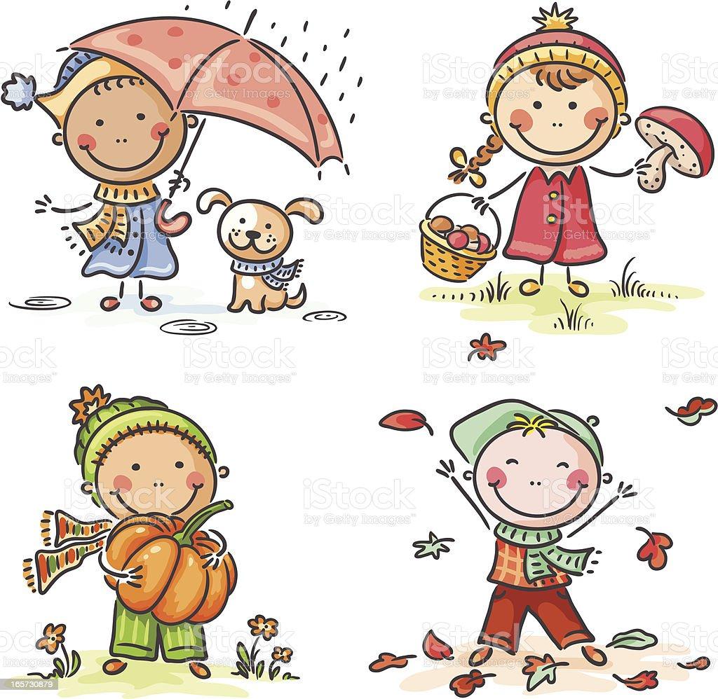 Autumn Kids royalty-free stock vector art