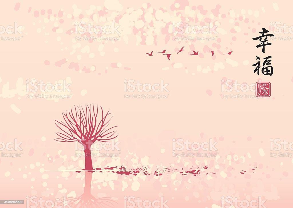 autumn landscape in flocks of birds vector art illustration