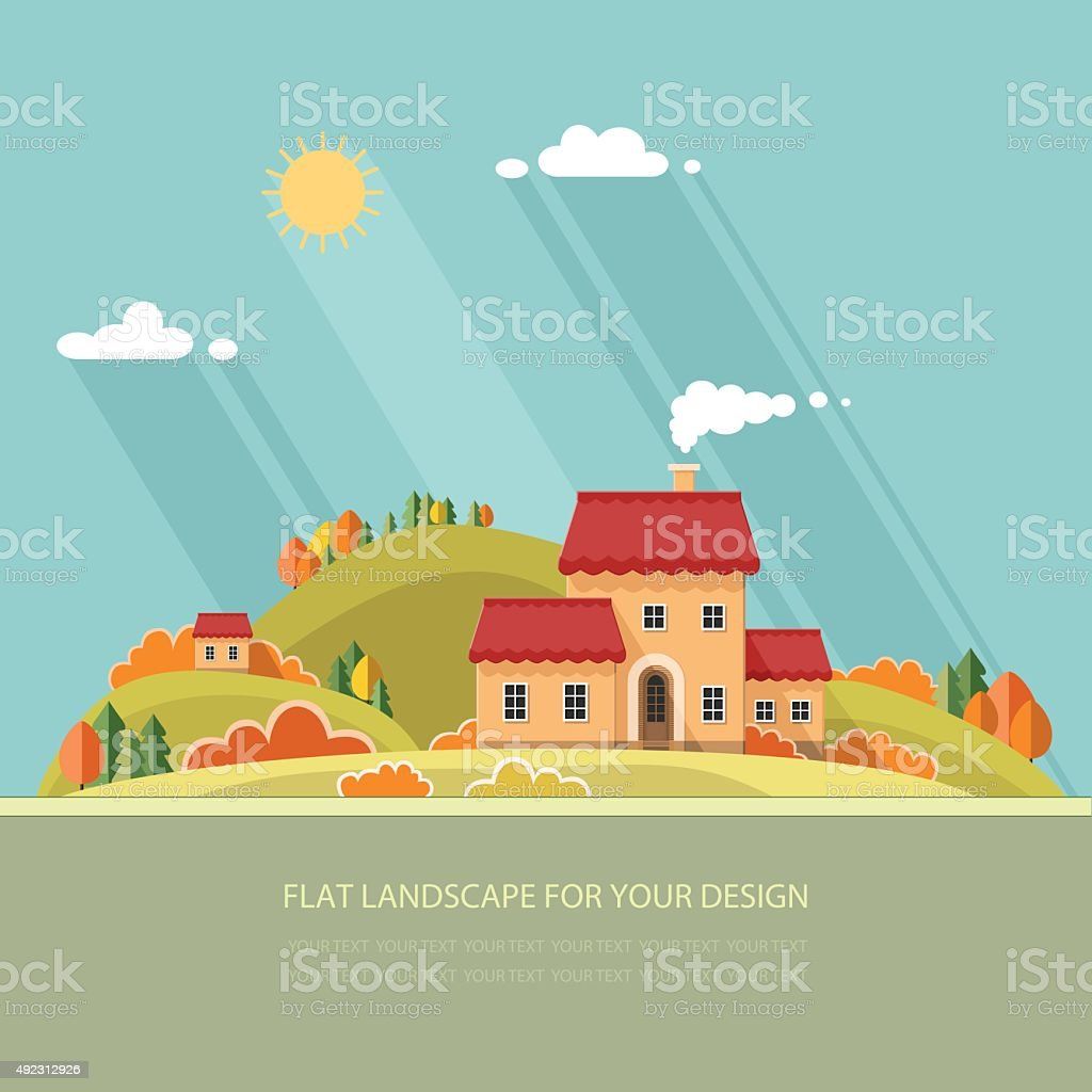 autumn landscape. Little city street with small houses and trees vector art illustration