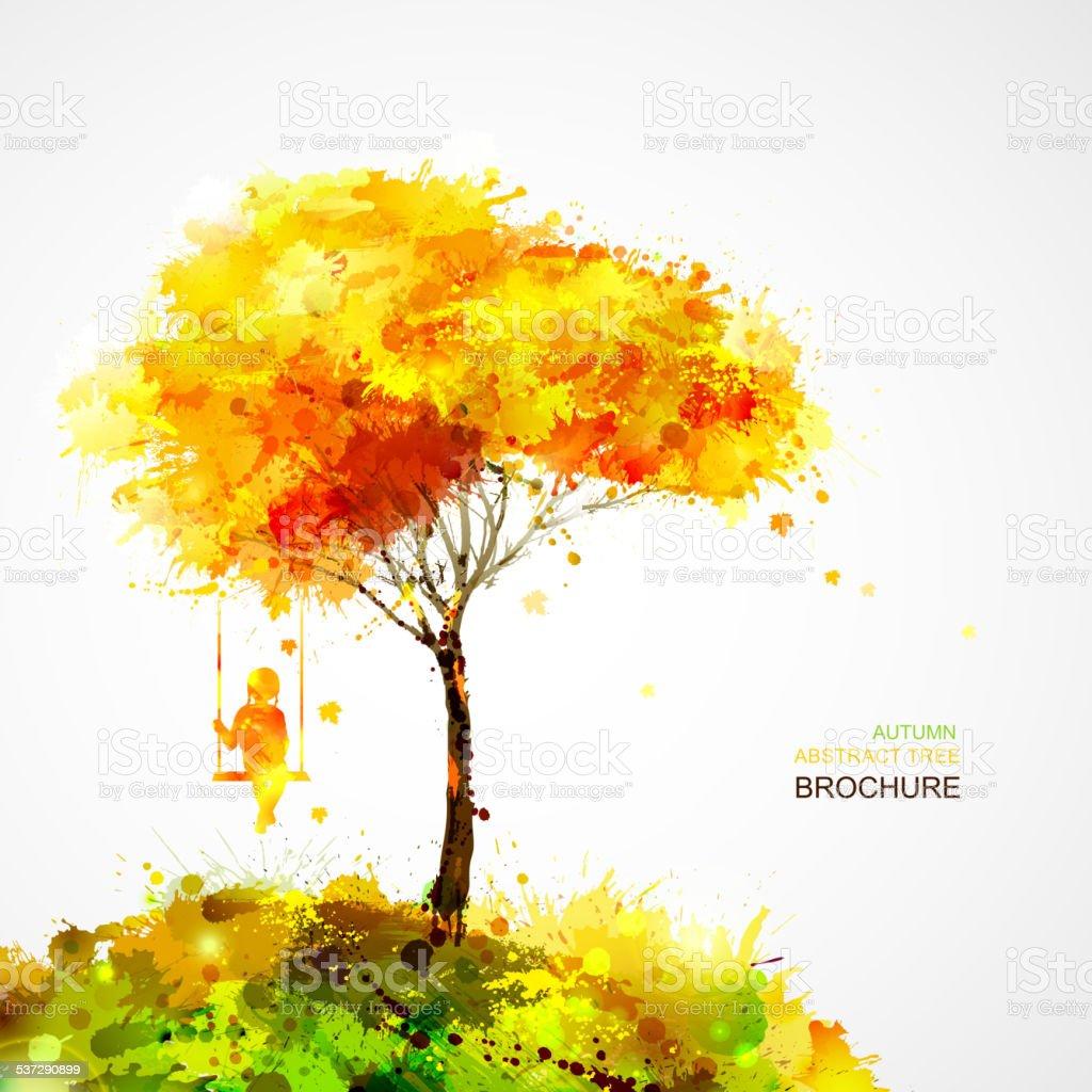 Autumn landscape vector art illustration