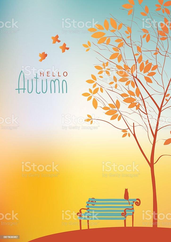 autumn landscape with trees vector art illustration