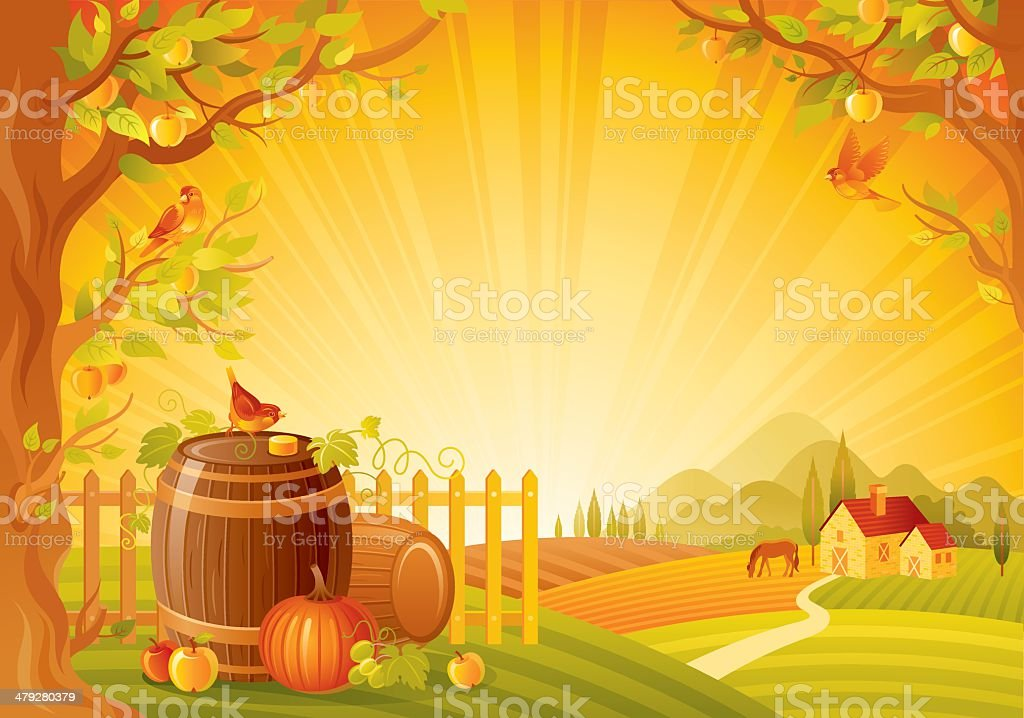 Autumn lanscape with barrels vector art illustration