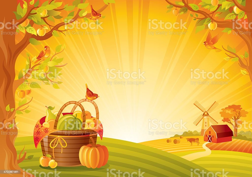 Autumn lanscape with fruit basket vector art illustration