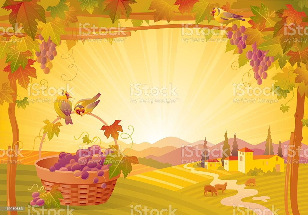 Autumn lanscape with grape basket royalty-free stock vector art