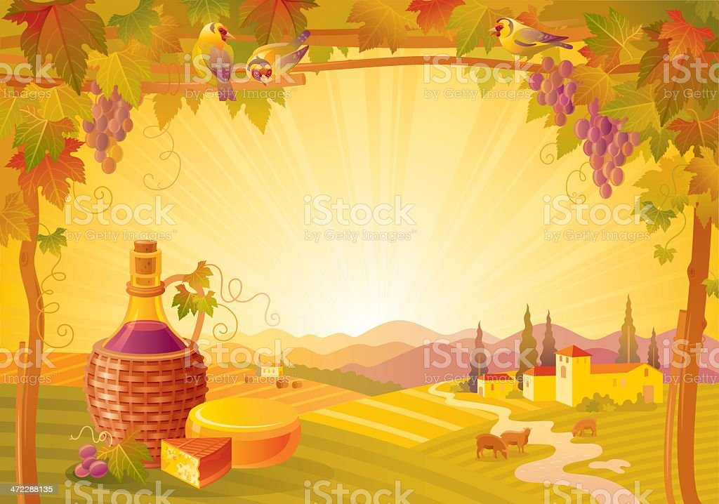 Autumn lanscape with wine and cheese vector art illustration