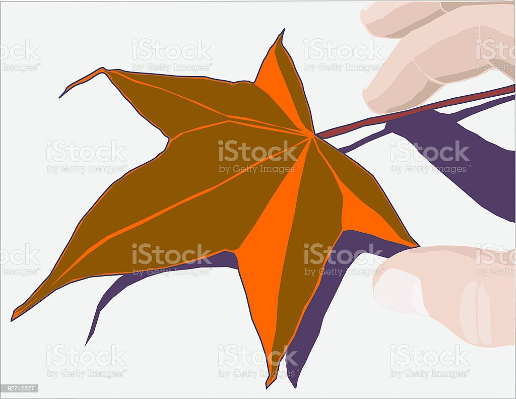 Hoja en otoño y mano vector vector art illustration