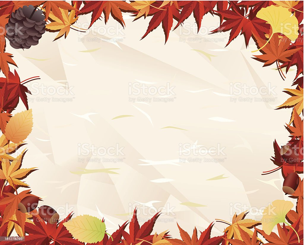 Autumn leaf & old paper royalty-free stock vector art