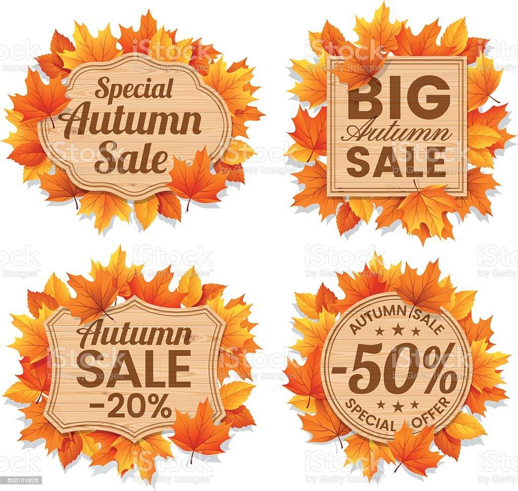 Autumn Leaf Sale Tags vector art illustration