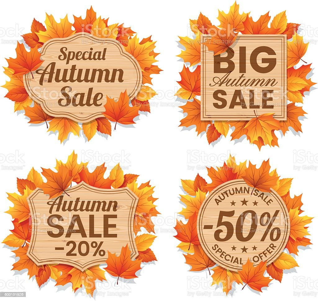 Autumn Leaf Sale Tags vector art illustration
