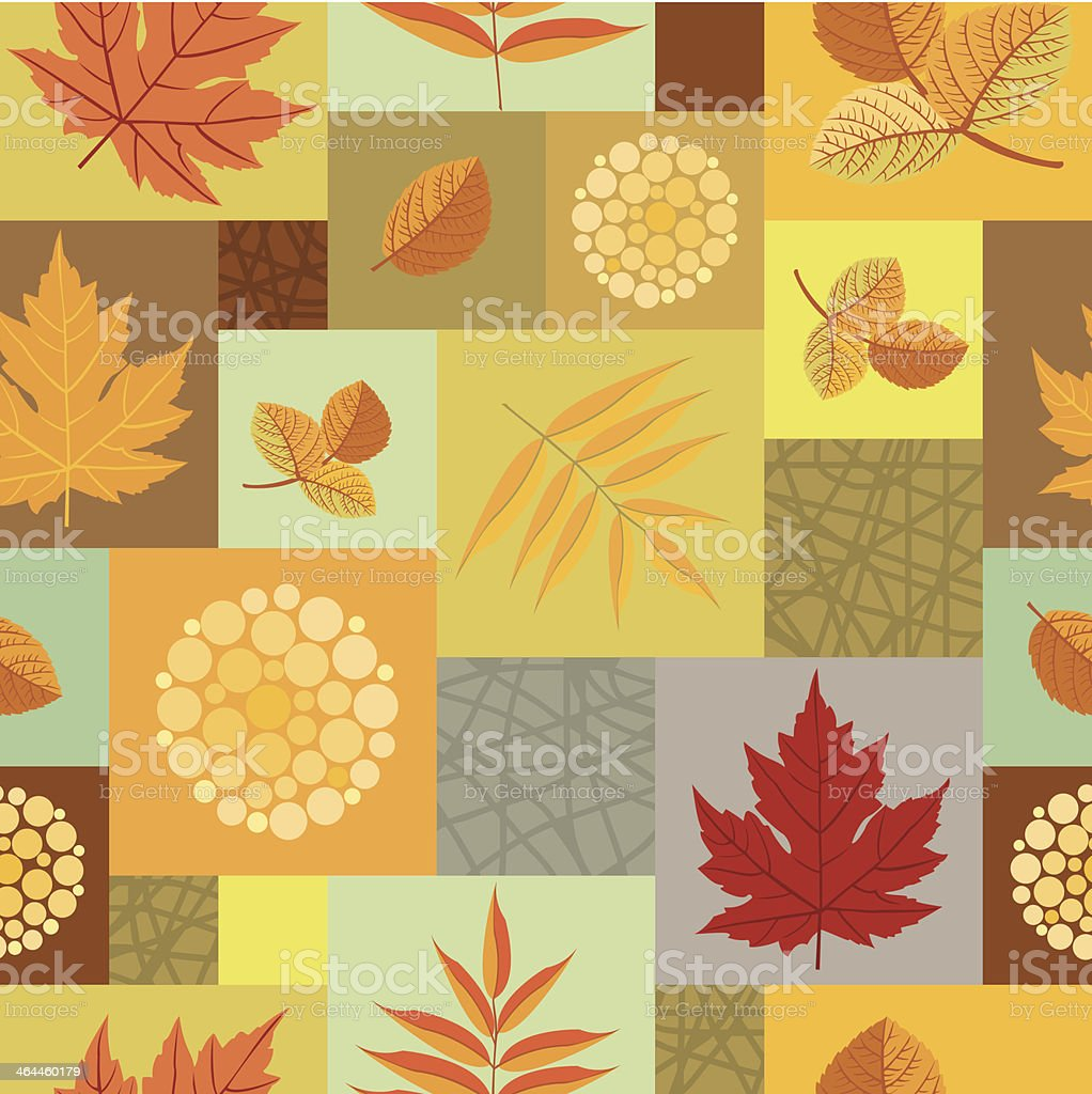 Autumn leaves and abstract berries seamless pattern royalty-free stock vector art