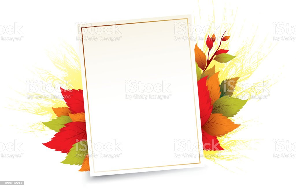 autumn leaves and sheet royalty-free stock vector art