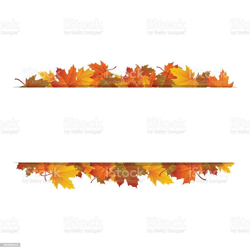 Autumn leaves around blank rectangle. Vector banner vector art illustration