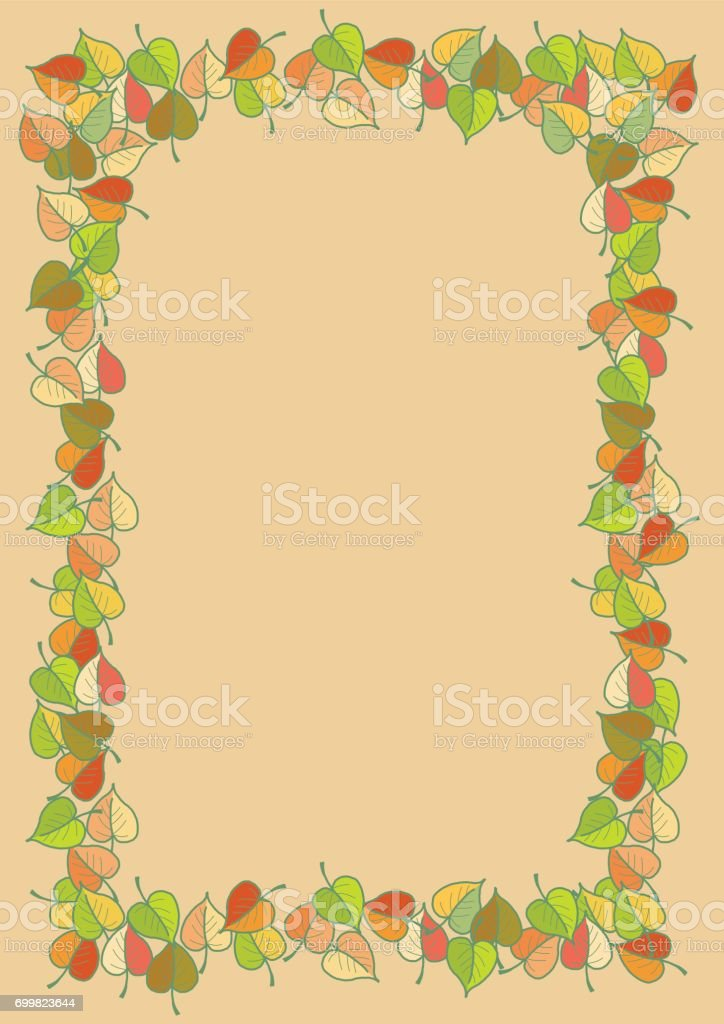 Autumn leaves colored pattern A4 frame vector art illustration