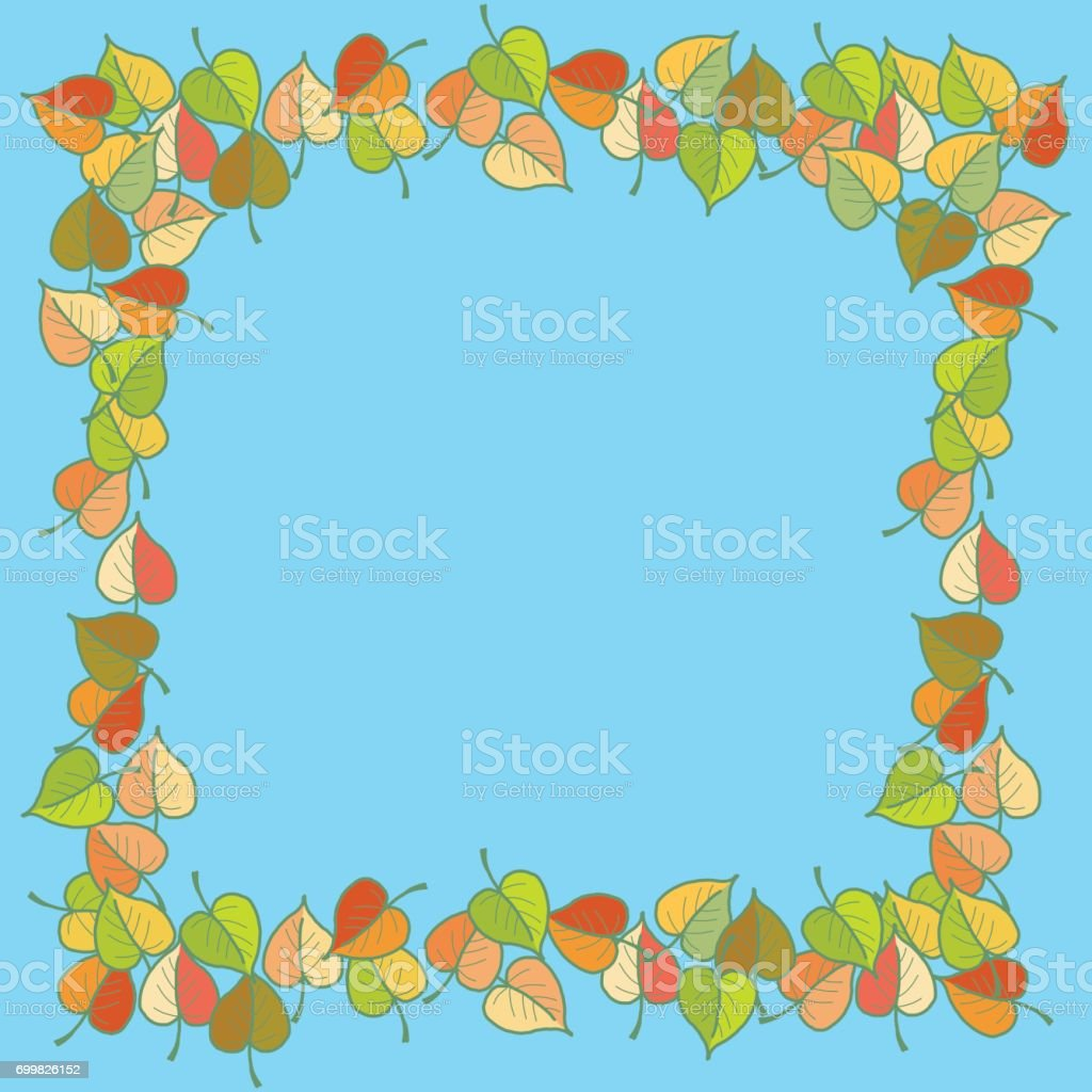 Autumn leaves colored pattern Square frame vector art illustration