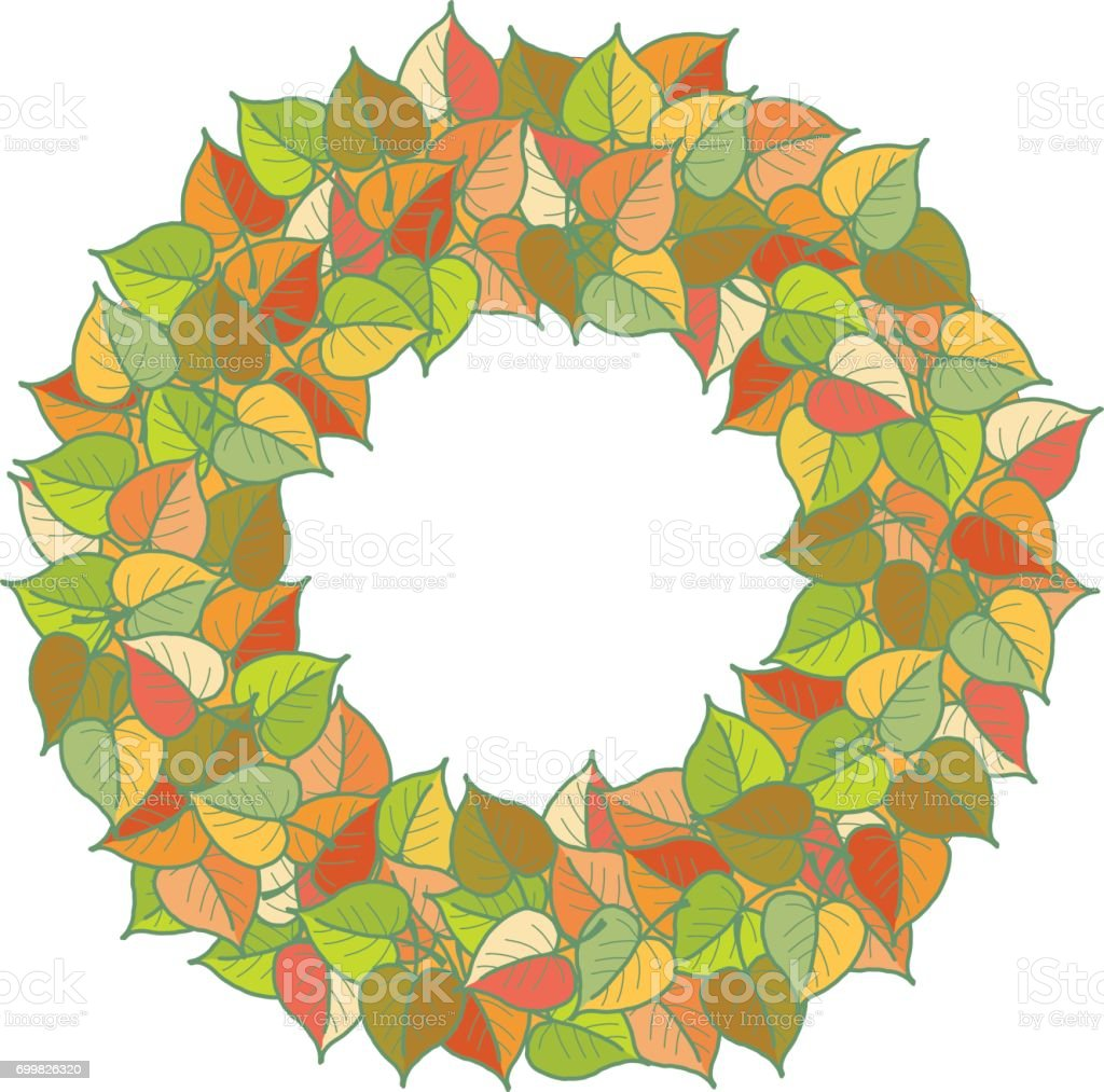 Autumn leaves colored pattern Wreath vector art illustration