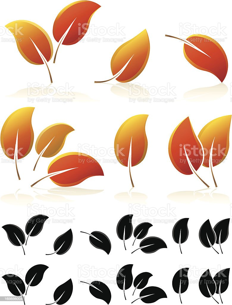 Herbst Blätter-Design-Elemente-Set Lizenzfreies vektor illustration