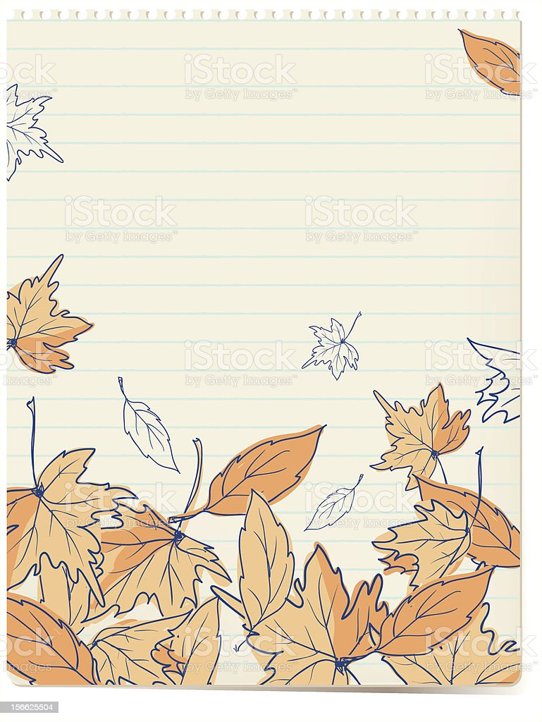 autumn leaves doodles background royalty-free stock vector art