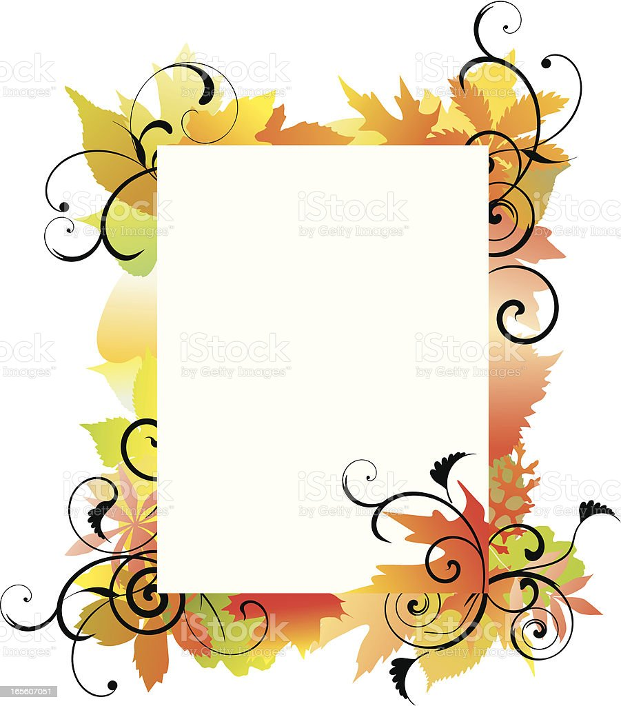 Autumn leaves frame royalty-free stock vector art